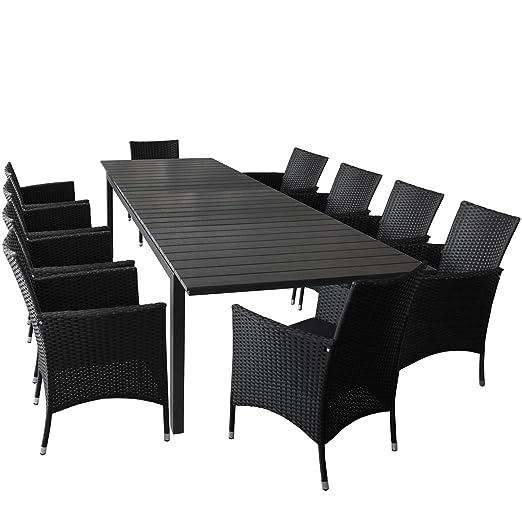 11 unidades, muebles de jardín mesa extensible con polywood ...