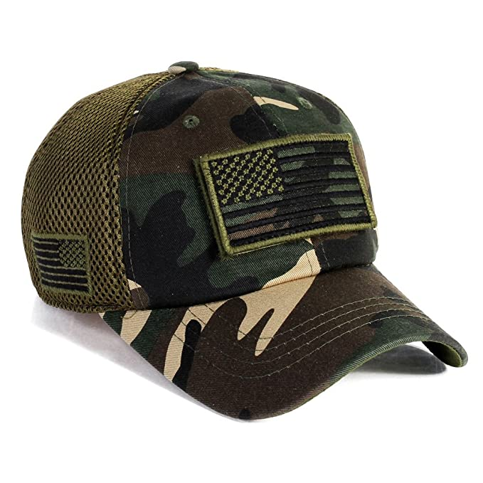 5e62aa8c828 Image Unavailable. Image not available for. Color  Military imagine USA  American Flag Hat Army Detachable Patch Micro Mesh Cap