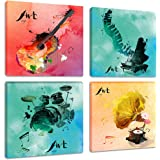 Colorful Music Canvas Wall Art Prints 4 Pieces Watercolor Beating Notes Painting Pictures for Bedroom Living Room Decor…