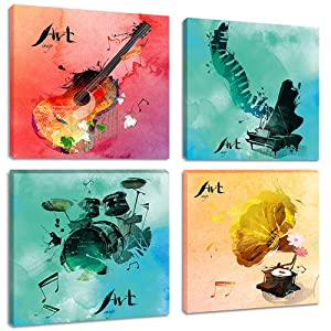 Abstract Music Canvas Wall Art Prints for Bedroom Living Room Decor Watercolor Painting Piano Guitar Phonograph Drum Set Picture, Framed Red Blue 12x12 Inches Set of 4