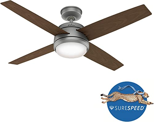 Hunter Fan Company 59616 Oceana Outdoor Ceiling Fan with LED Light and Wall Control, 52, Matte Silver