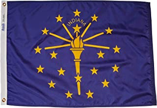 product image for Annin Flagmakers Model 141650 Indiana Flag Nylon SolarGuard NYL-Glo, 2x3 ft, 100% Made in USA to Official State Design Specifications