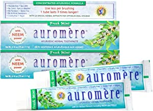 Auromere Ayurvedic Herbal Toothpaste, Fresh Mint - Vegan, Natural, Non GMO, Flouride Free, Gluten Free, with Neem & Peelu (4.16 oz), 2 Pack