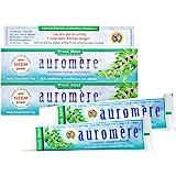Auromere Ayurvedic Herbal Toothpaste, Fresh Mint - Vegan, Natural, Non GMO, Fluoride Free, Gluten Free, with Neem & Peelu (4.