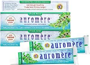 Auromere Ayurvedic Herbal Toothpaste, Fresh Mint - Vegan, Natural, Non GMO, Flouride Free, Gluten Free, with Neem & Peelu (4.16 oz), 2 Pack