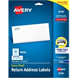 "Avery Return Address Labels with Sure Feed for Inkjet Printers, 2/3"" x 1-3/4"", 1,500 Labels, Permanent Adhesive (8195)"