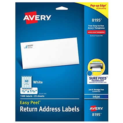 """Avery Return Address Labels with Sure Feed for Inkjet Printers, 2/3"""" x"""
