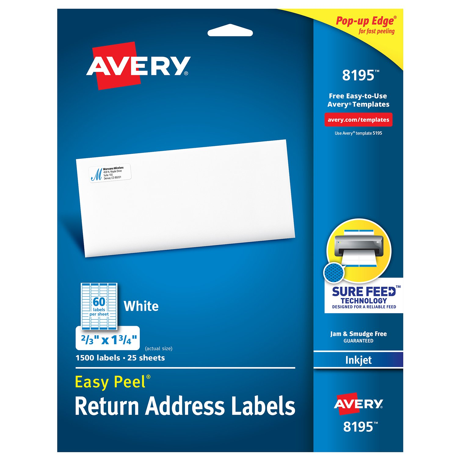 Avery Return Address Labels with Sure Feed for Inkjet Printers, 2/3'' x 1-3/4'', 1,500 Labels, Permanent Adhesive (8195)
