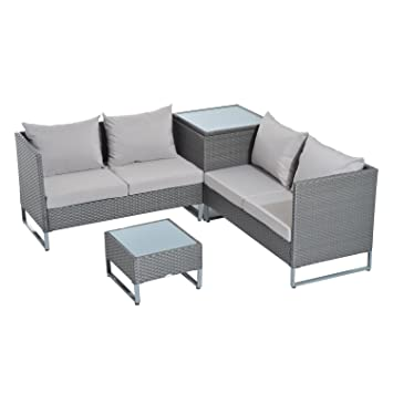 Outsunny 4pc Modern Sectional Patio Furniture Conversation Set   Grey