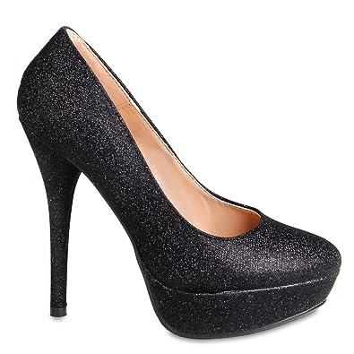 CASPAR Damen High Heels / Pumps mit Plateau Absatz im Glamour Look - schwarz - SBU002