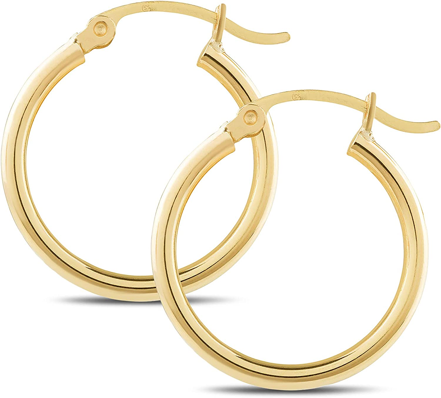 Classic Shiny Polished 2mm tube 14k Yellow Gold Round Hoop Earrings