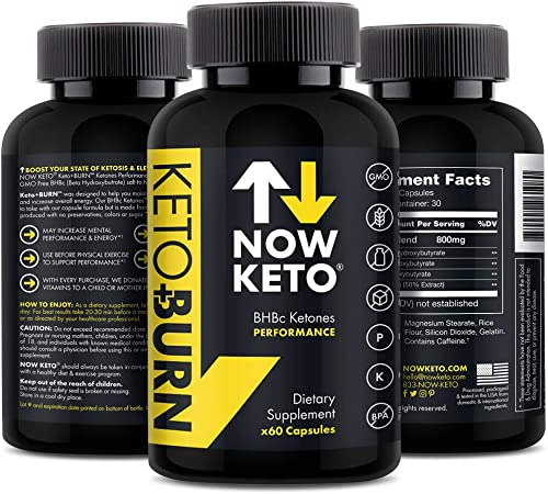 NOW KETO Keto + Burn Exogenous BHB Ketone Supplement Capsules   Best Keto Diet   Ketosis Supplement to Support Fat Burn, & Boosts Energy with Beta Hydroxybutrate Salts for Weight Loss 60 Capsules