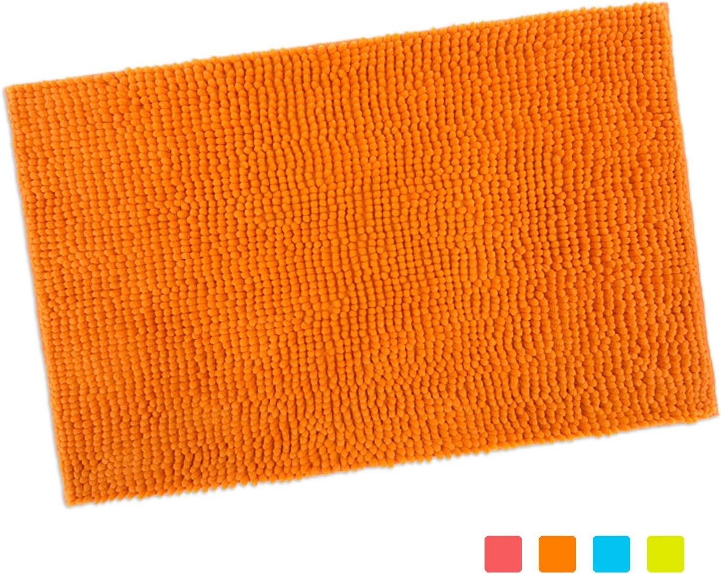 "purpleclay 100% Chenille Bath Mat Non Slip Machine Washable for Bathroom, Kitchen,Pets, Living and Play Room in Vibrant Color (16"" x 24"", Tangerine Orange)"
