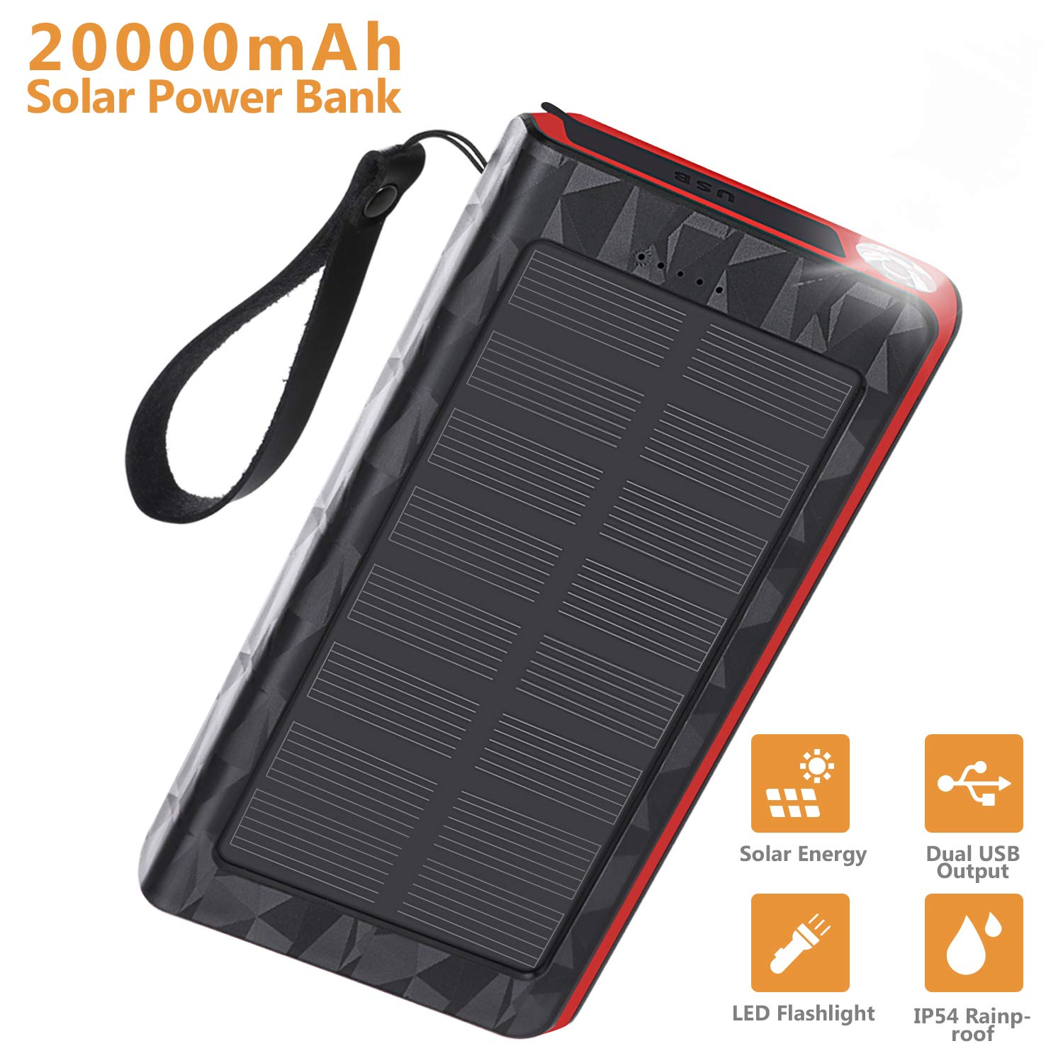 AMAES Solar Charger 20000mAh, Portable Phone Charger External Battery Pack, Compatible with iPhone Samsung Tablets & More, Type-C and Micro USB Inputs, 3 Outputs, Flashlight, Carabiner, IP54 Rainproof by AMAES