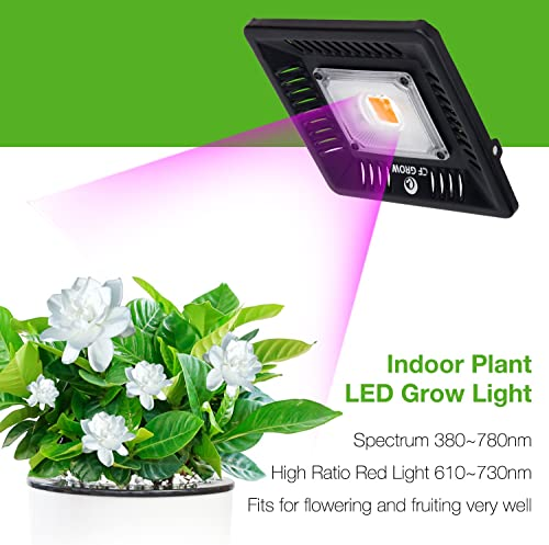 Waterproof 100W LED Grow Light Full Spectrum, New Technology COB LED Grow Light, Natural Heat Dissipation Without Noise, Suitable for Plants All Growing Stage Indoor or Outdoor.