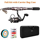 PLUSINNO Fishing Rod and Reel Combos Carbon Fiber Telescopic Fishing Rod with Reel Combo Sea Saltwater Freshwater Kit…