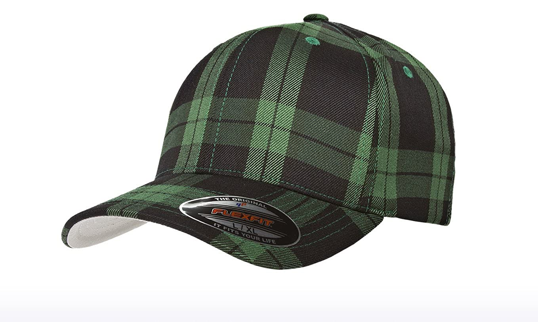 c30151f8209 Flexfit 6197 Tartan Plaid Cap - Small Medium (Black Gray Plaid) at Amazon  Men s Clothing store