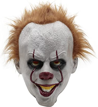 YSY Pennywise Máscara de payaso adulto con pelo y dientes ...