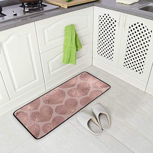 Amazon Com Kitchen Rugs Rose Gold Glitter Hearts Design Non Slip Soft Kitchen Mats Bath Rug Runner Doormats Carpet For Home Decor 39 X 20 Kitchen Dining
