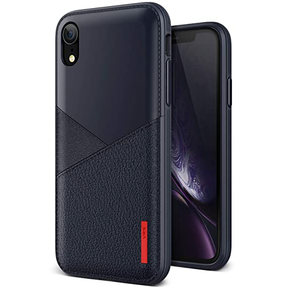 size 40 462fe 87b75 iPhone XR case, VRS Design [Navy] Vegan TPU Leather-Look Case [Leather Fit]  Flexible Slim Premium case Compatible with Apple iPhone XR (2018)