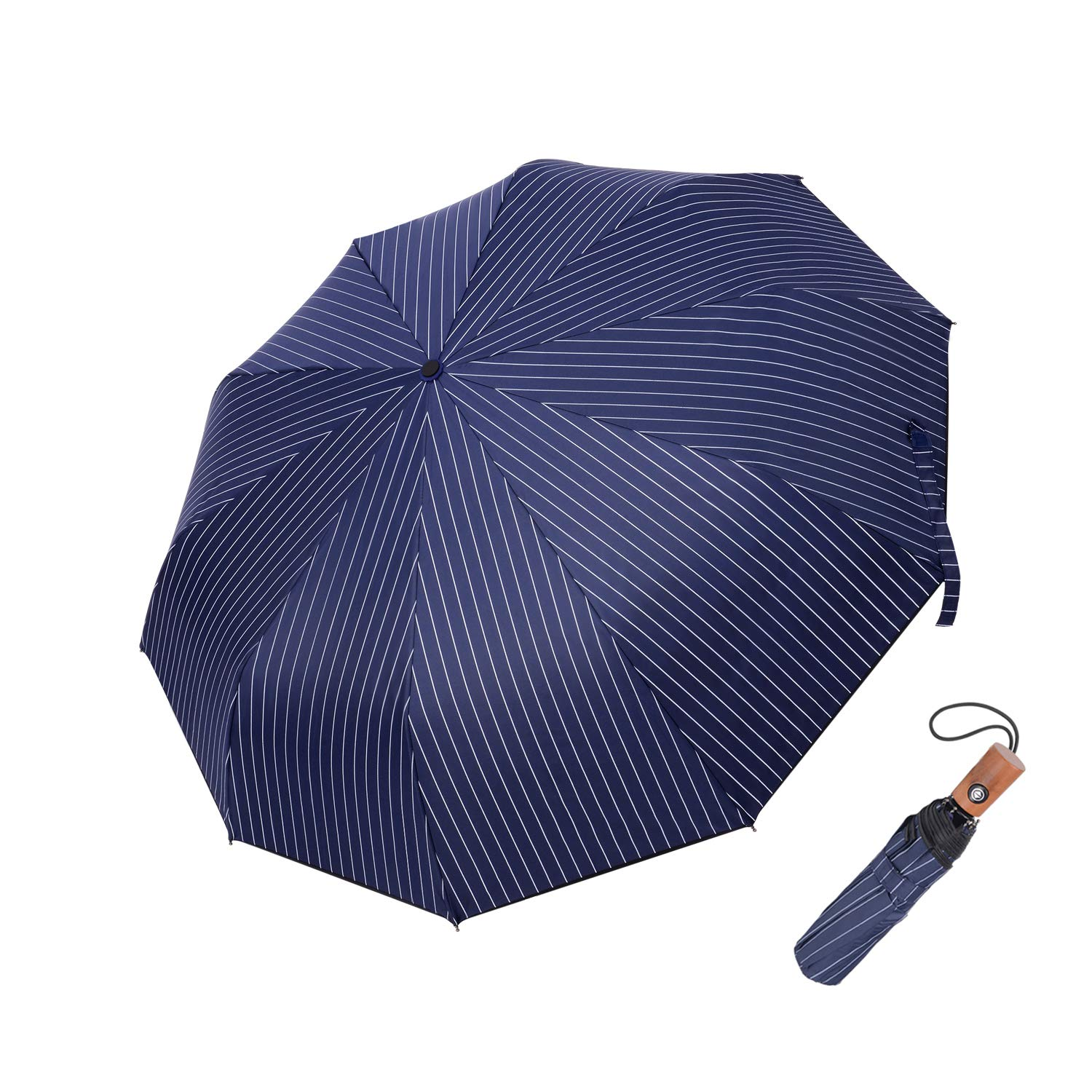 GBU Compact Travel Umbrella w/Windproof UV Protection,Wood Handle– Automated Open/Close System (Black)