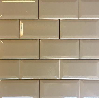 Amazon.com: 3x6 Brown Beveled Crackled Subway Ceramic Tile ...