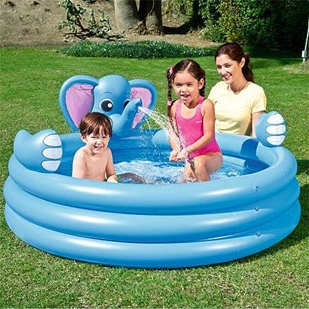 SUWIN Fuente de Elefante Azul de 3 Anillos, Piscina Inflable para ...