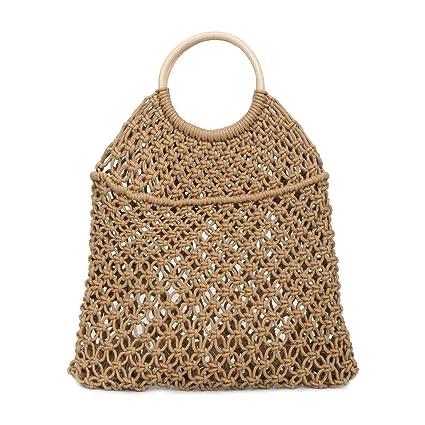 63f1e6f98b Amazon.com: Women's Woven Mesh Bucket Bag Linen Weave Drawstring Bag Round  Wooden Handle Shopper Bag Simple Casual Beach Bag Ladies Woven Handbags  (Khaki): ...