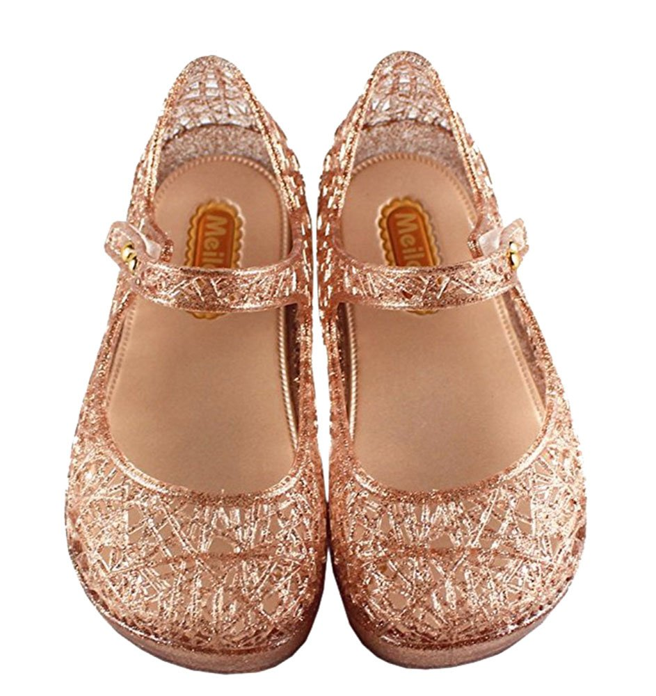 Vokamara Cinderella Baby Girls Soft Crystal Plastic Shoes Children's Princess Shoes(Toddler/Little Kid) GN075