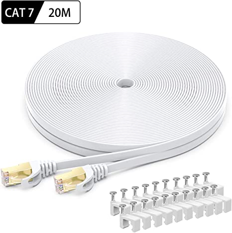 65ft 7in, Grey rhinocables Cat 5e Cat5e Ethernet RJ45 High Speed Network Cable Internet Fast Speed Lead