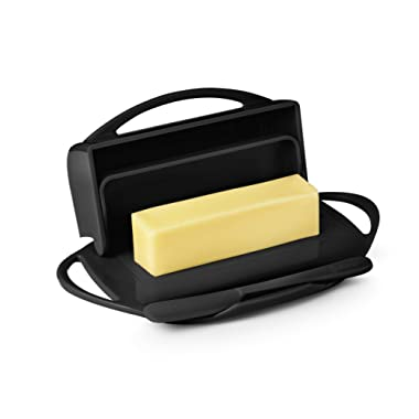 Butterie Flip-Top Butter Dish with Matching Spreader (Black)