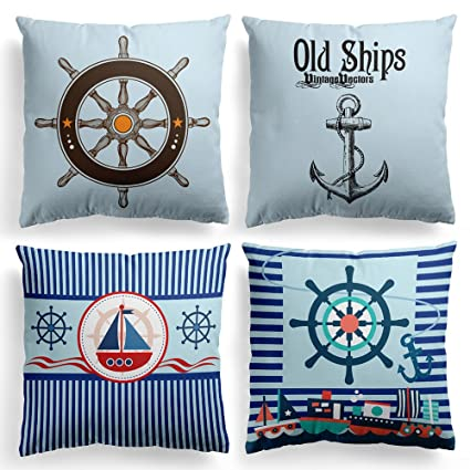 Nice Modern Sailing Ships Marine Printing Cushion Covers Rudder Linen Throw Pillow Case For Couch Seat Bedroom Home Decorative Cushion Cover