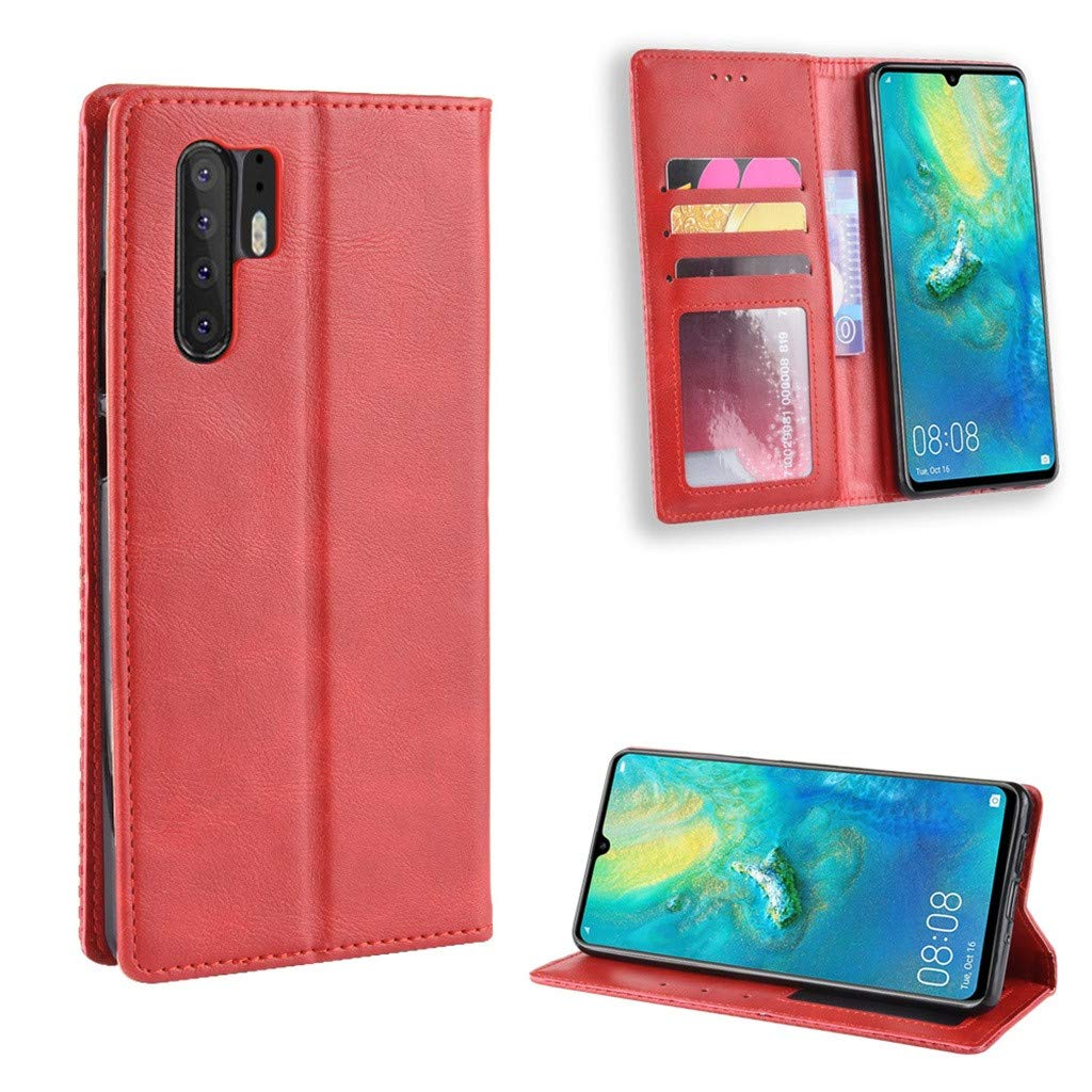 CapsA Phone Cases Compatible Huawei P30 Pro 6.47inch Retro Leather Magnetic Buckle Case Luxury Credit Card Slot Wallet Cover Stand Holder Leather Flip Case (Red)