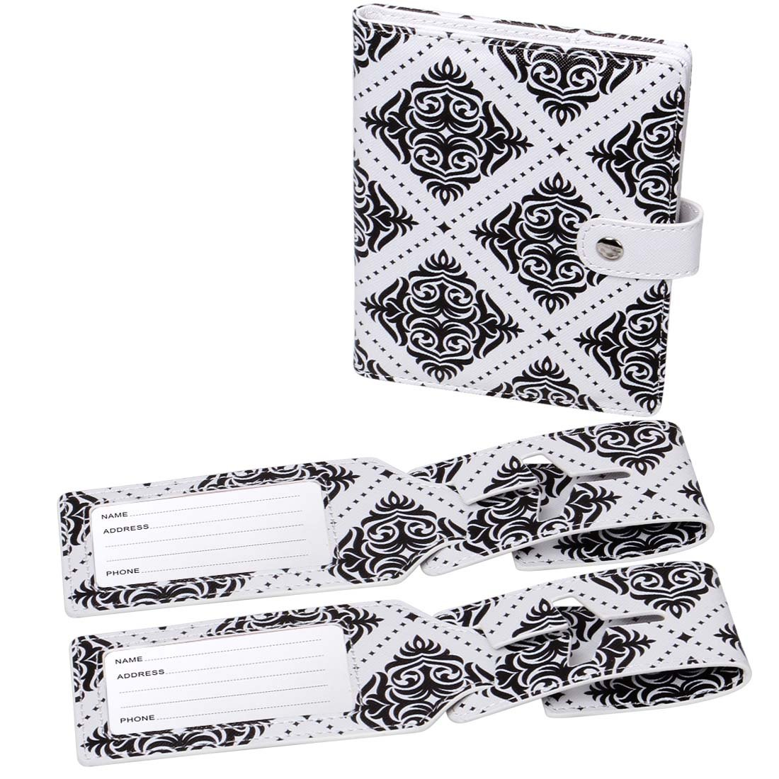RoryTory Damask Black RFID Protection Passport Case Holder And 2 Luggage Tags