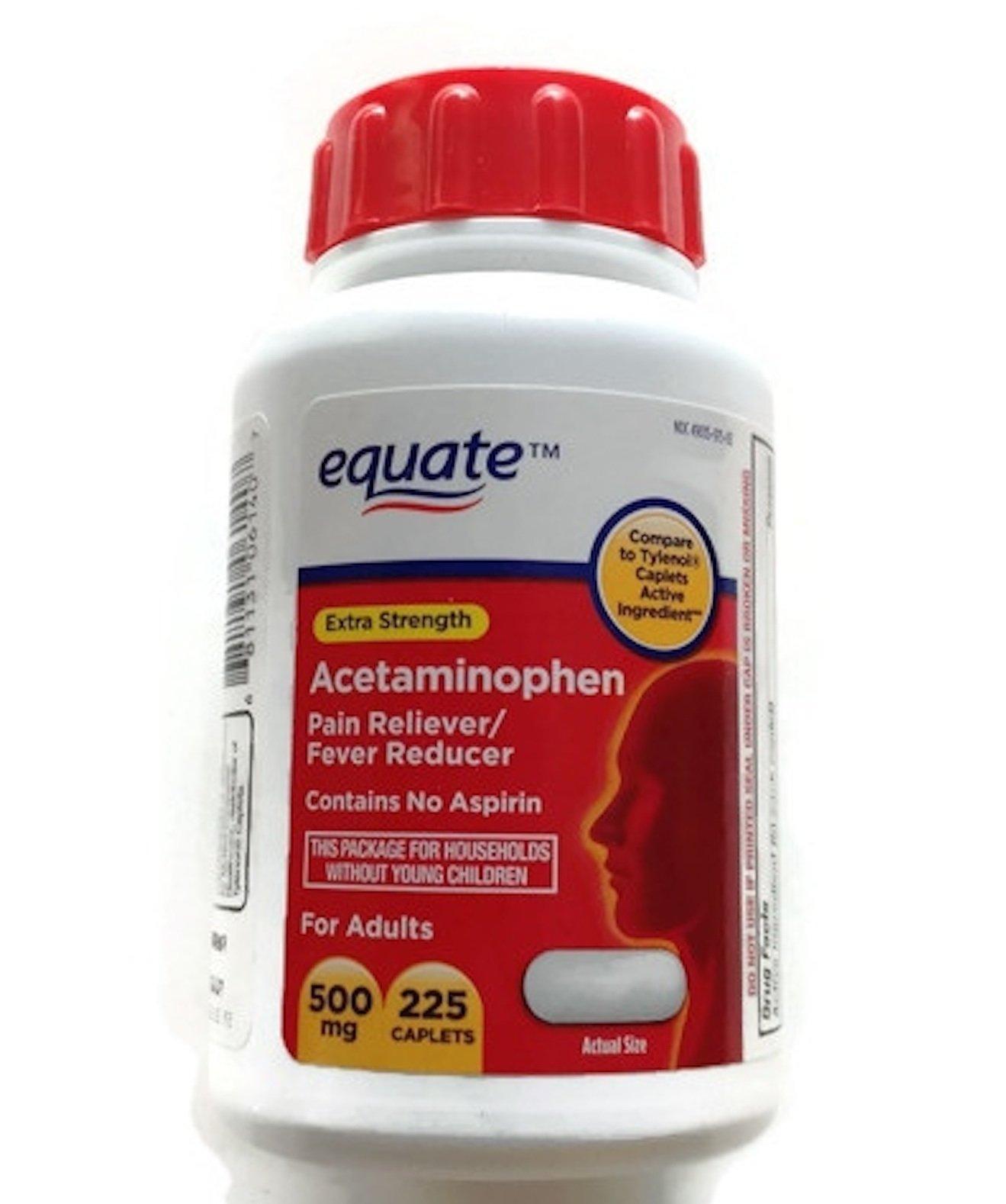 Equate Acetaminophen Extra Strength Pain Reliever/fever Reducer - 500 Mg, 225 Caplets