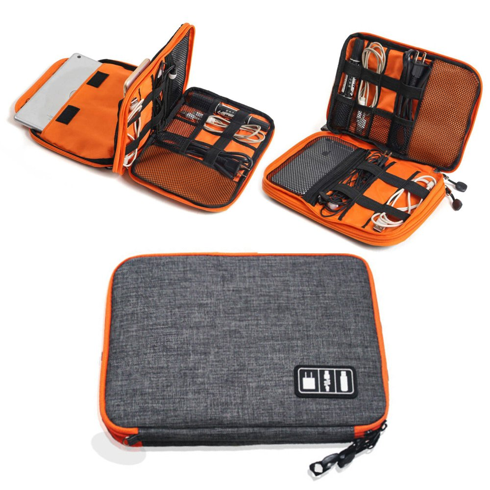 Elvoes Electronics Accessories Case, Waterproof Portable Cable Organizer Bag, Multifunctional Travel Digital Accessories Storage Bag for Pen Hard Cables Earphone Ipad iPhone by Elvoes