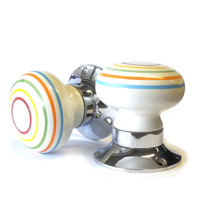 Pushka Home Ceramic Multi-colour Striped White internal spring-loaded mortice door knobs ( Pair)