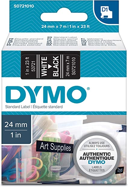 1x original DYMO d1 Label cassette 24mm nastro della macchina 53721 White//Black s0721010