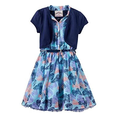 62fb67357 Amazon.com: Knit Works Girl Lace Butterfly Dress & Shrug Set Navy ...