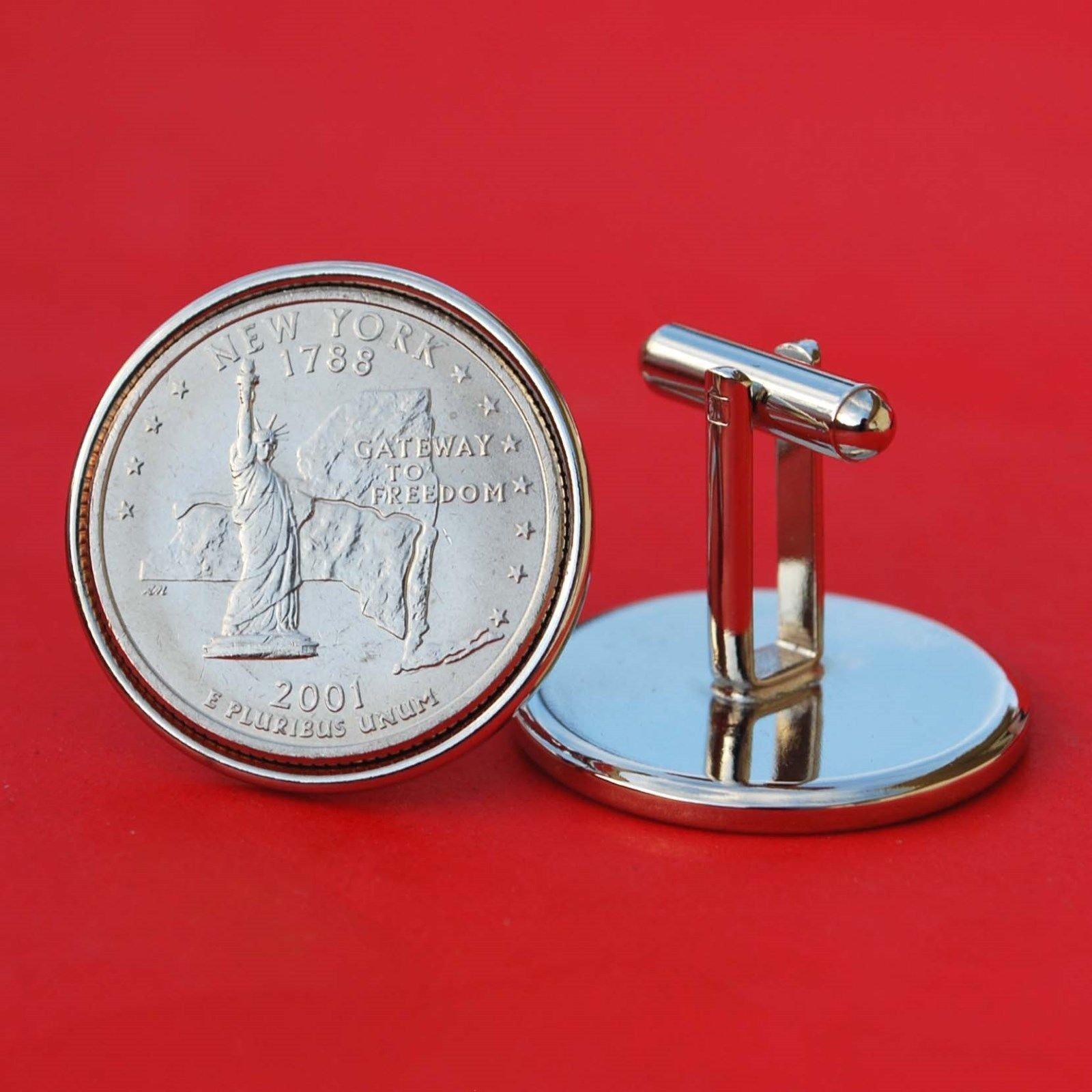 US 2001 New York State Quarters Bu Unc Coins Cufflinks NEW
