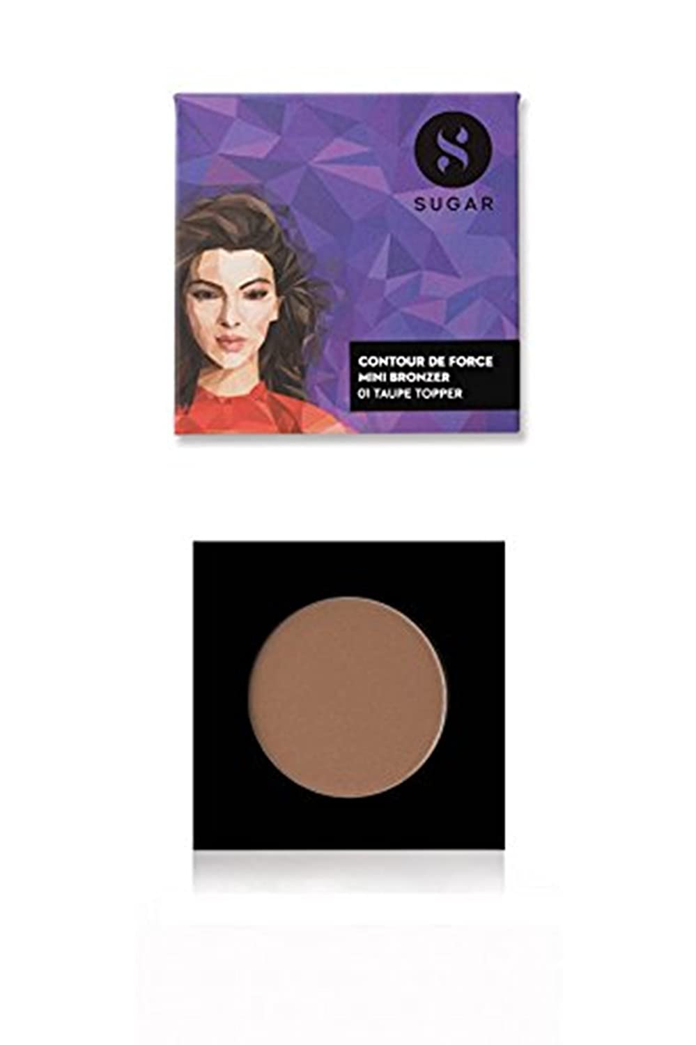 SUGAR Cosmetics Contour De Force Mini Bronzer 01 Taupe Topper Brown Gray , 4 g