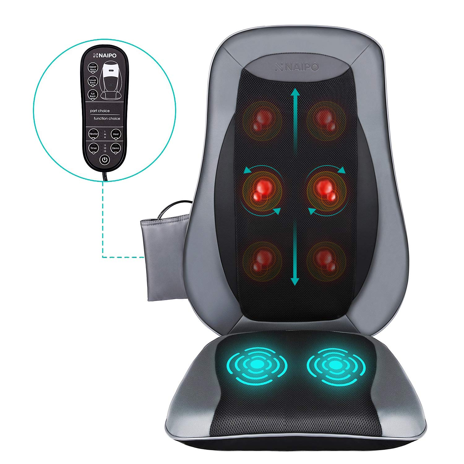 Naipo Back Massager Chair Shiatsu Massage Seat Cushion with Heat, Deep Kneading Rolling Full Back Massage Pad in Car Office Home
