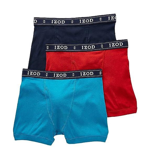 aed65c6cccb3 Izod Men's Knit Boxer Briefs - 3 Pack (171PB10) M/Dress Blue/Caneel ...
