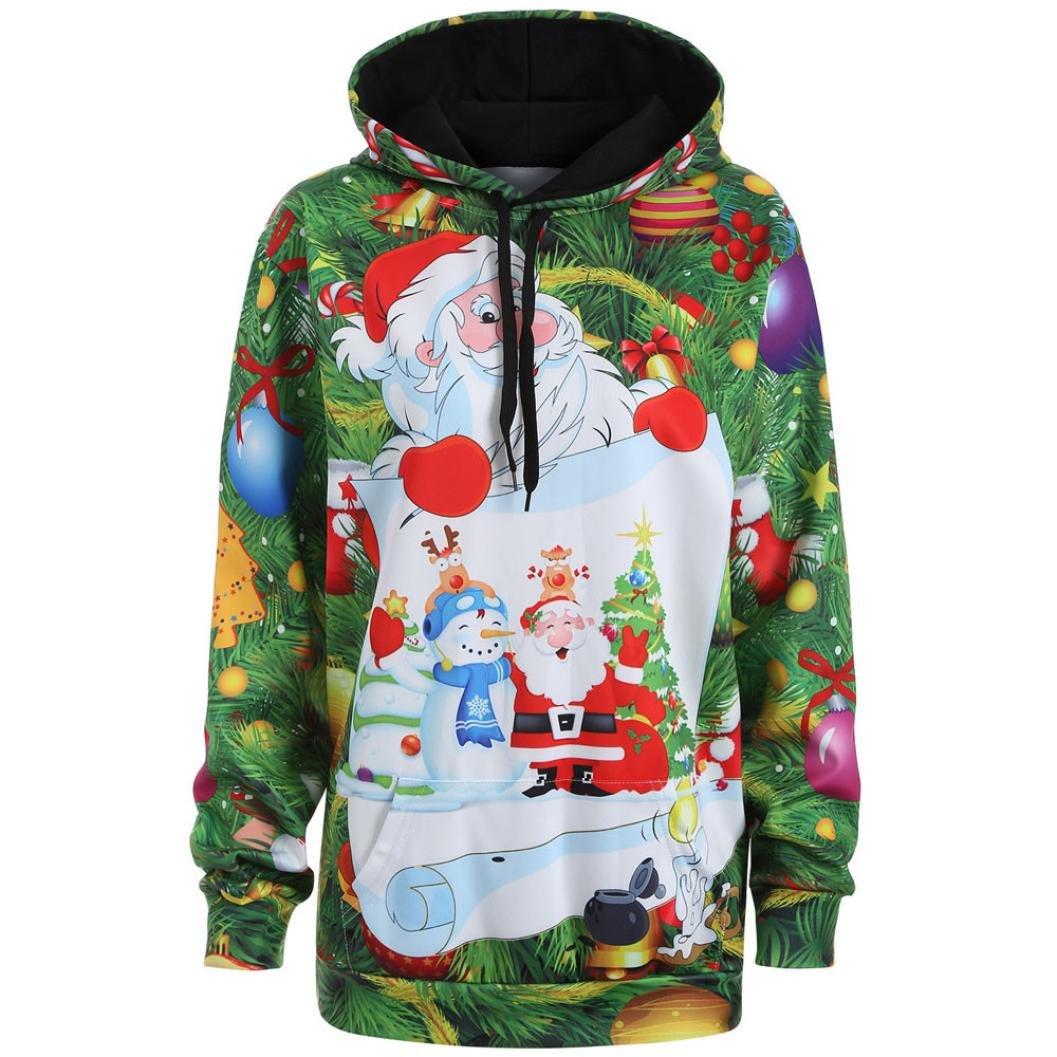 KOLY Felpe con cappuccio da snowman di Babbo Natale di Babbo Top Pullover Sweatershirt Giacche e cappotti Jumper Hoodies Pullover Casuale Stampa di 3D Manica lunga Felpe Magliette (Green, M)