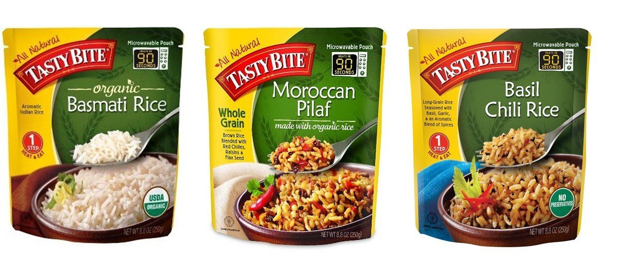 Tasty Bite Heat & Eat Rice Side Dish 3 Flavor Variety Bundle, 1 each: Organic Basmati, Moroccan Pilaf, Basil Chili (8.8 Ounces)