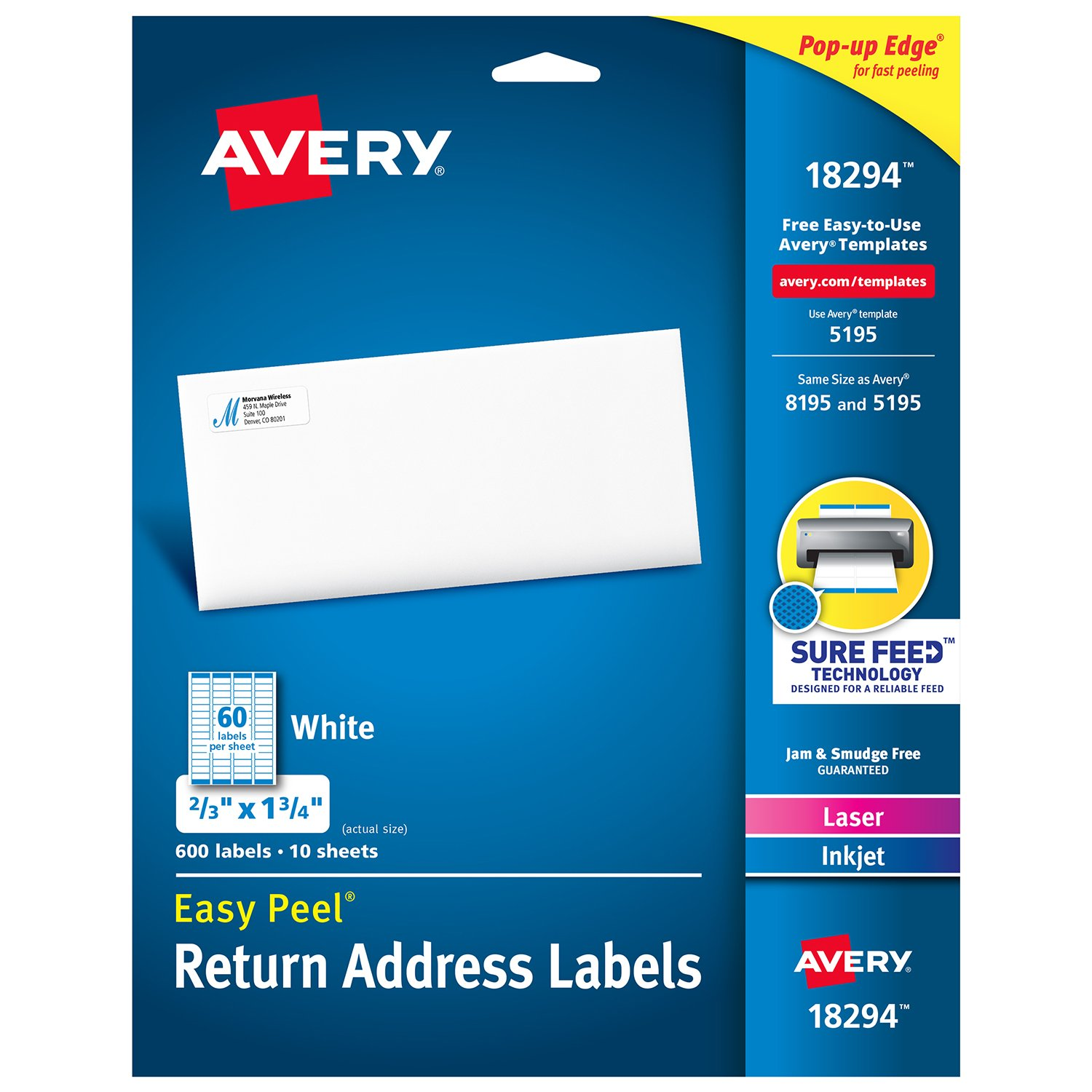 Amazon avery return address labels laserinkjet 23 x 1 34 amazon avery return address labels laserinkjet 23 x 1 34 inches white 18294 office products maxwellsz