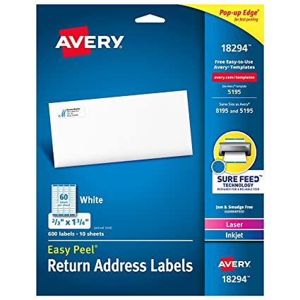 amazon com avery return address labels with sure feed for laser
