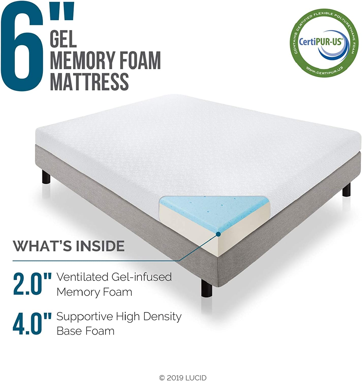 Lucid 6 Inch Gel Infused Memory Foam Mattress Firm Feel Perfect For Children Certipur Us Certified 10 Year Warranty Twin Amazon Ca Home Kitchen
