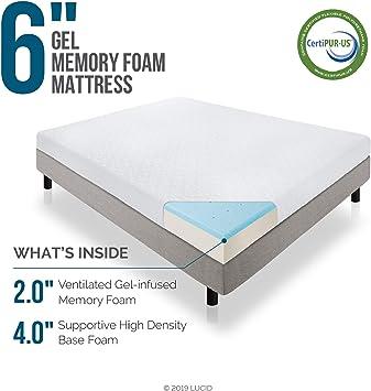 Amazon Com Lucid 6 Inch Gel Infused Memory Foam Mattress Firm