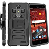ZTE Blade X Max Case,IDEA LINE(TM) Heavy Duty Armor Shock Proof Dual Layer Holster Locking Belt Swivel Clip with Kick Stand - Black